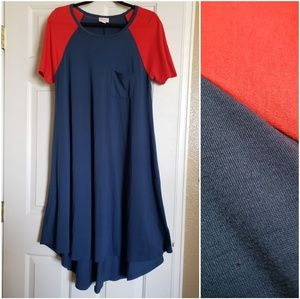Lularoe Carly Blue with Red Sleeves